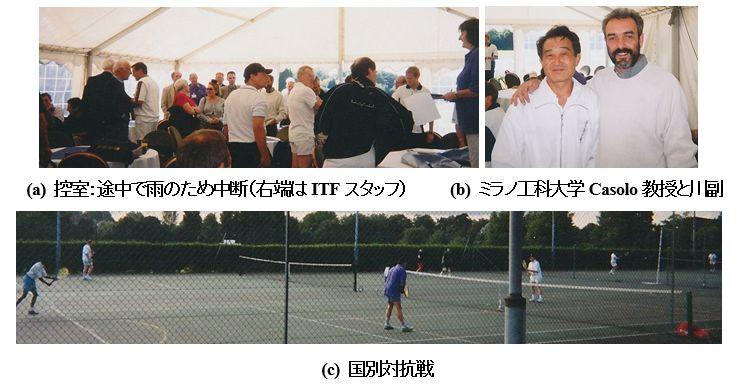 図3 国際テニス連盟(ITF)主催 第1回テニスの科学技術に関する国際会議 テニス研究者によるデビスカップトーナメント,共同研究者ミラノ工科大学 Casolo 教授と