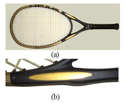 図2 ラケット首部に圧電素子を内蔵したインテリファイバー IS10 (打球面積115 in2、重量241 g(ストリング16gを含む)、 全長27.75 in)をマッケンローらがテニスの伝統を変えるとして批判